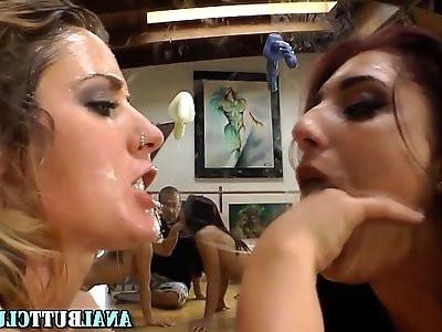 Curvy butt babes gagging