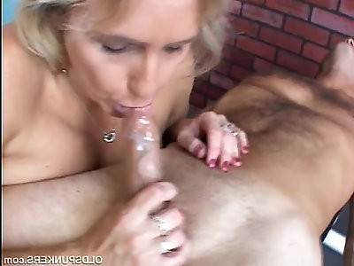 Beautiful beefy old spunker gives amazing sloppy blowjob