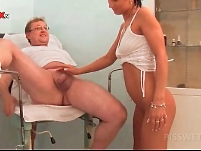 Cute blonde and sexy nurse sharing doctors cock