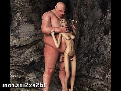 Ogres jizz on 3d babes