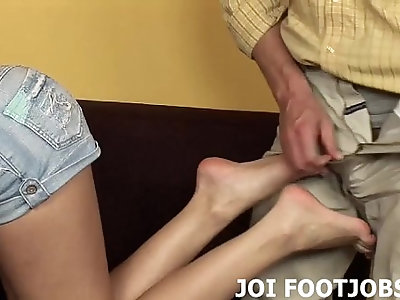I want to feel your cock between my feet