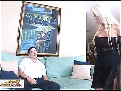Horny milf sucks and fucks her boyfriends friend on the couch