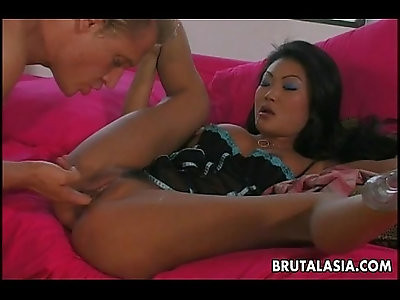Busty Asian babe enjoys a fat cock in her pussy