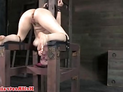 Bounded tied up submissive dildo fucked
