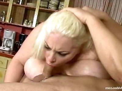 Chubby With Boobs N Belly Sucks Huge black Cock