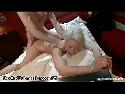 Gagged blonde gets fucked hard whipped and bdsm fucked in bed