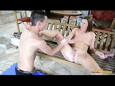 Lara Latex makes slave to fuck each other with toy