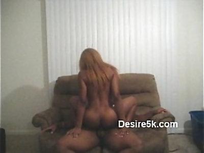Ebony Milf sucking Dick Riding In Living Room