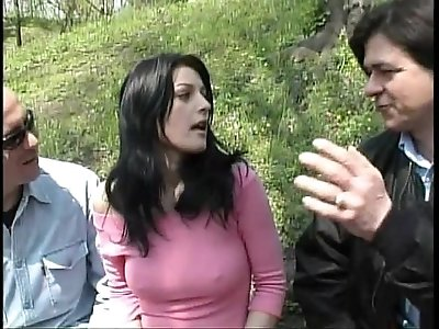 Sexy ebony girl walking on a park taken and fucked by two bad guys