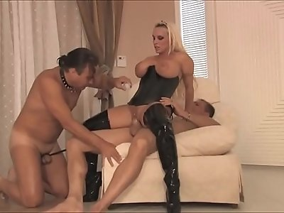 Busty dominant milf wife in latex loves cuckold with her husband