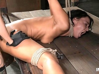 Contortionist gets doggystyle fucked in lezdom bondage