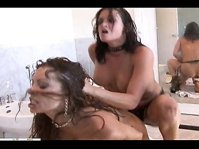 Absolutely crazy whores dominate each other on the bathroom floor
