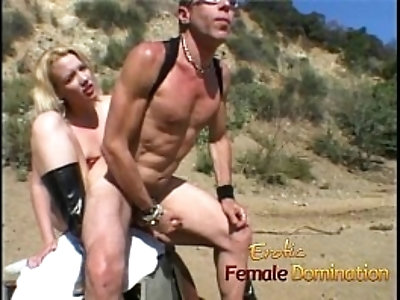 Kinky well hung stud enjoys riding on a large sex toy