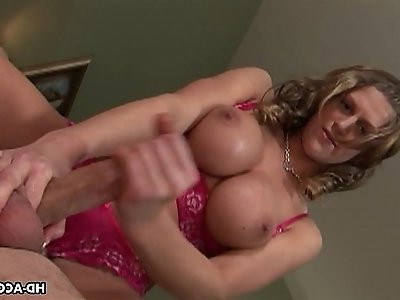 Horny gal with tits wanks her mans cock