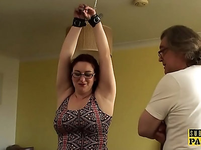 Chubby british sub cumswallows after roughsex