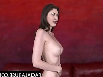Deep blowjob for hottie plays with body