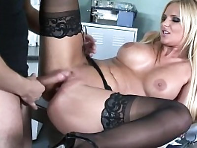 Busty japanese babe sex in black stockings and high heels