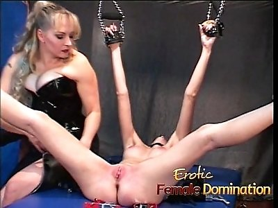 Naughty blonde slut tied up and has her cunt pleasured
