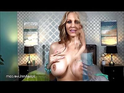 Blonde amateur Milf Julia Ann Fingers her Pussy in Bed!