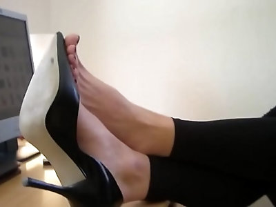 High heels and bare feet at Agas office