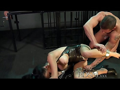 BDSM XXX Sexy tattooed Slave gets mouth full of cock from Master
