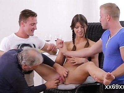 Doc assists with hymen examination and devirginizing of virgin cutie
