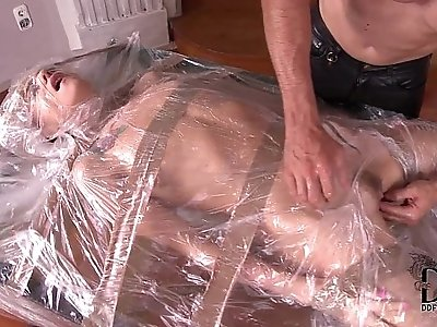 Leyla Black Bound In Plastic Gets Mouth Asshole Used