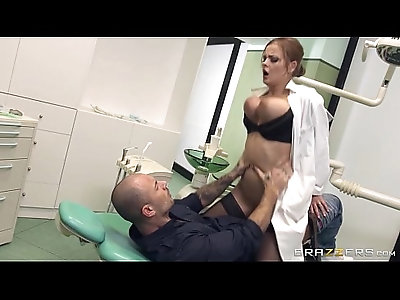 Busty Russian dentist Candy Alexa dominates her patient