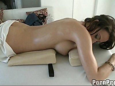 Fondling Sexy Brunette Durring Massage.