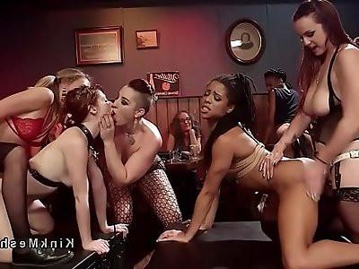 Lesbian orgy in dyke bar