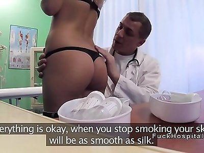 Sexy young blonde patient in lingerie at doctors