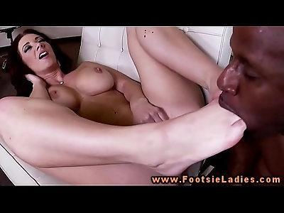 Interracial feet worshipping with slut busty brunette mature