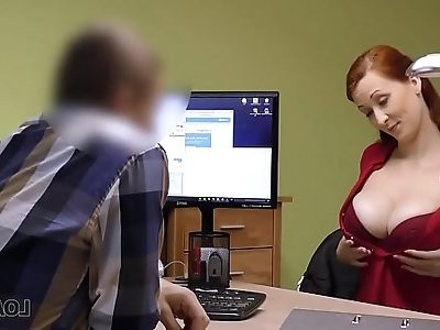 Agent in credit company loves boobs of his gorgeous customer