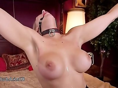Blonde babes sharing cock in bondage